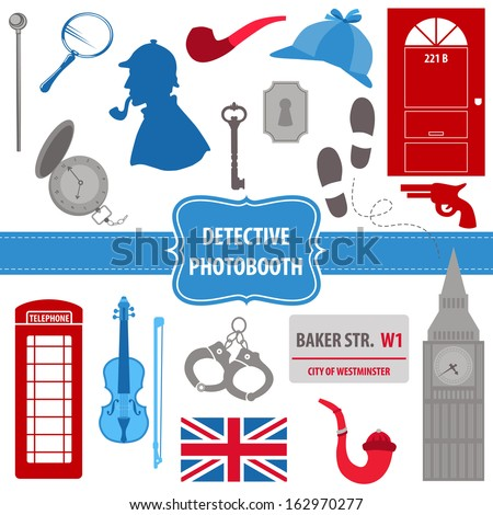 Detective Sherlock Party set photobooth props silhouettes pipes mask hat in vector