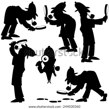 detective silhouettes  set of 6