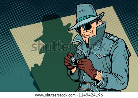 detective spy, shadow. Comic cartoon pop art retro vector illustration drawing