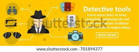 Detective tools banner horizontal concept. Flat illustration of detective tools banner horizontal vector concept for web
