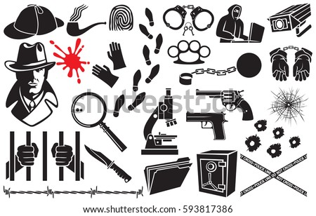 Detective vector icons set (Sherlock Holmes hat, hands in handcuffs, revolver, chain with shackle, barbed wire, bullet hole in glass, tobacco pipe, hacker, gloves, microscope, safe, magnifier, blood)
