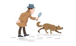 Detective with magnifying glass and tracker dog hunting footprints