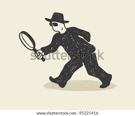 Detective with magnifying glass for cartoon design.
