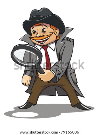 Detective with magnifying glass for cartoon design. Jpeg version also available in gallery