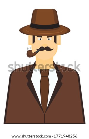 detective with smoking pipe on