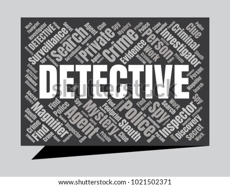 Detective Word Cloud. Vector Collage Made of Popular Tags. Detection Concept
