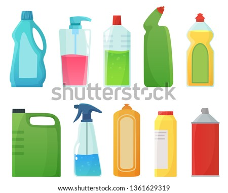 Detergent bottles. Cleaning supplies products, bleach bottle and plastic detergents containers. Household bottles, sanitary chemicals cleaners equipment. Cartoon vector illustration isolated icons set