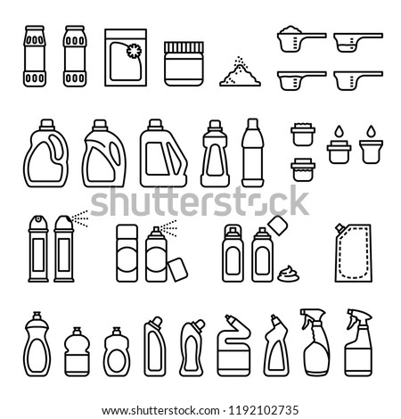 Detergents. Chemicals for cleaning and disinfection bottles icons. Thin Line Style stock vector.