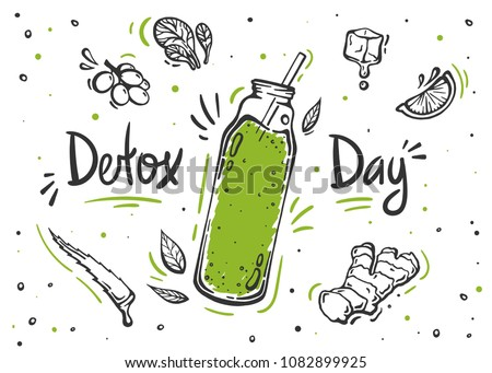 Detox day poster in doodle style. Set of hand drawn ingredients for smoothie or detox drink in the bottle.