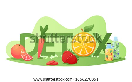Detox Diet Concept. Healthy Nutrition, Detoxing Program Food Fruits, Berries and Vegetables , Organic Orange, Carrot, Lemon with Strawberry Smoothies Poster Banner Flyer. Cartoon Vector Illustration