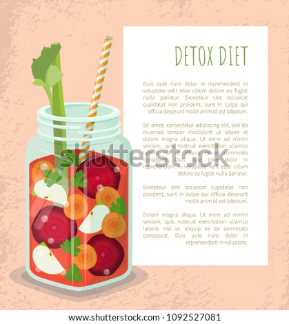 Detox diet poster mug with refreshing drink containing fresh beet, apple and carrot slices, lettuce and parsley leaves vector dieting cocktail with straw