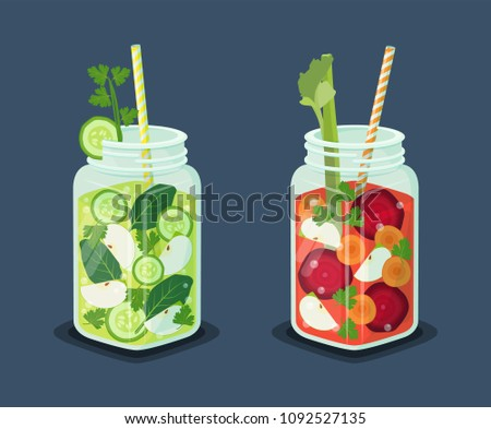 Detox energetic cocktails set, drinks of refreshing organic cucumber, bay leaves, slices of apple, ice cubes, beets and carrots vector vegetarian beverages