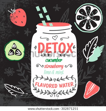 Detox fat flush water recipe. Decorative doodle style vector  illustration with mason jar and ingredients.