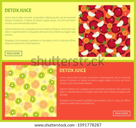 Detox juice web poster ingredients of refreshing drink beet and carrot, apple and parsley, citrus fruits orange lemon kiwi vector banners with text set