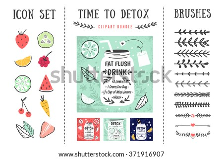 Detox posters and design elements. Template for scrapbooking, wrapping, notebooks, notebook, diary, decals, school accessories. Detox and healthy life. Vector illustrations