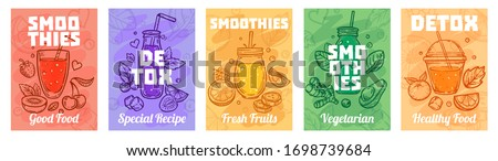 Detox smoothie poster. Good food smoothies, juices for healthy lifestyle and colorful fresh juices vector illustration set. Healthy fresh smoothie, glass detox, vegan beverage