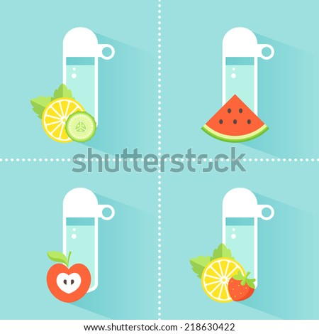 Detox Water Bottles with Mint Leaves, Berry, Fruit and Vegetable Slices. Healthy Diet Concept