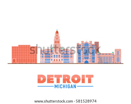 Detroit, Michigan (USA) city landmarks and monuments isolated on white background.