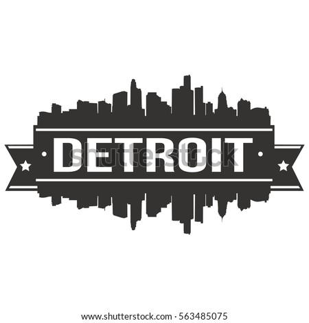Detroit Silhouette Skyline Stamp