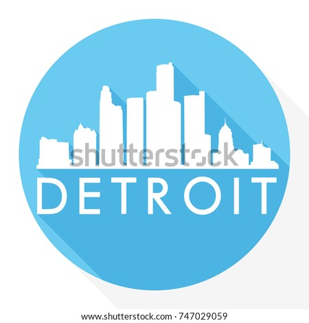 Detroit Skyline Button Icon Round Flat Vector Art Design Color Background
