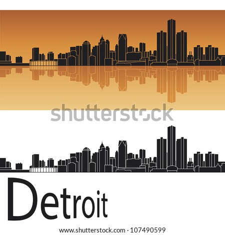 Detroit skyline in orange background in editable vector file