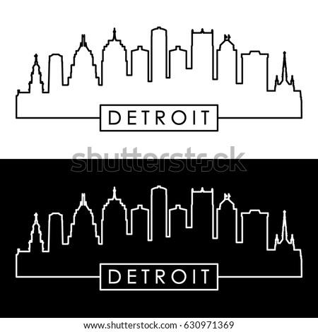 Detroit skyline. Linear style. Editable vector file.