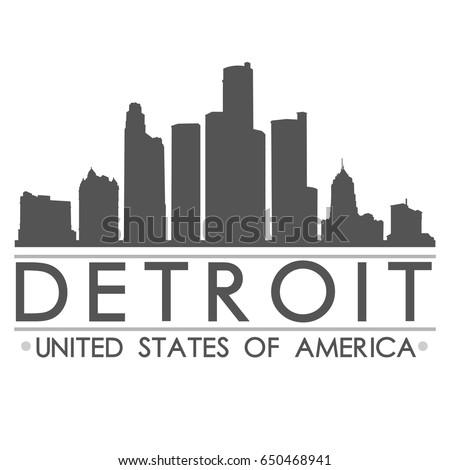 Detroit Skyline Silhouette Design City Vector Art