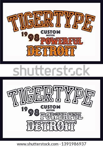 Detroit slogan for T-shirt printing design and custom motors,t-shirt printing. vector - Vector