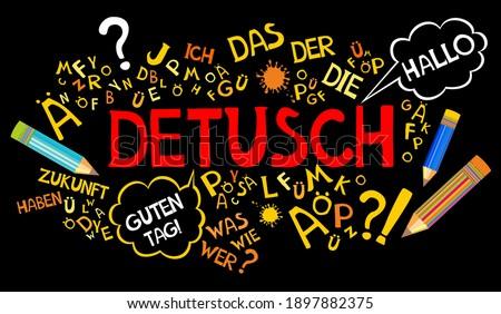 Deutsch. Translation: 'German'. Learning German. Online education concept. German language hand drawn doodles and lettering. Language education illustration. Foto stock ©