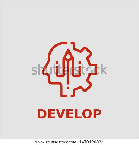 Develop symbol. Outline develop icon. Develop vector illustration for graphic art.