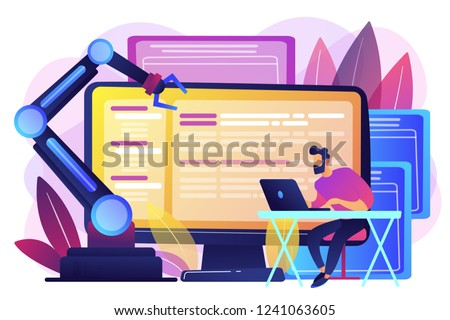 Developer at laptop and computer with open robotic soft. Open automation architecture, open source robotics soft, free development concept. Bright vibrant violet vector isolated illustration