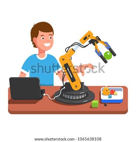 Developer student boy programming, controlling robotic arm using computer. Robotic arm handling toy ball. Educational robotics and artificial intelligence studying. Flat vector illustration