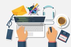 Developer web concept. Programmer write code for laptop. Software coding, programming languages, testing, debugging, web site. Search engine. Desktop designer. Vector illustration flat design.