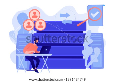Developer working with management information system. Information system security and integrity, big data, financial information organization concept. Vector isolated illustration.
