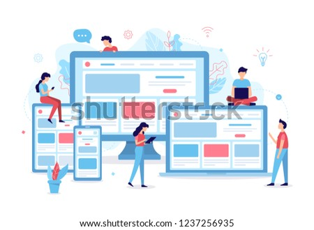 Developers are developing a responsive website. Business concept. Web development. Flat vector illustration.