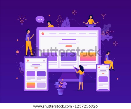 Developers are testing an adaptive website on a tablet, computer and smartphone. Web development concept. Flat vector illustration.