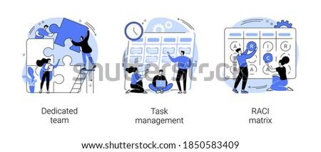 Developers team management abstract concept vector illustration set. Dedicated team, task management, RACI matrix, outsource, productivity online platform, responsibility chart abstract metaphor.