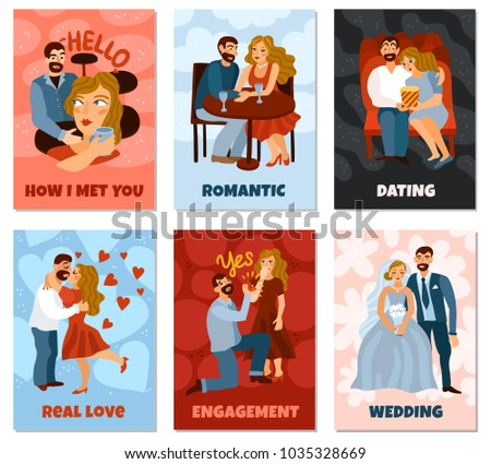 Developing love relations set of vertical cards with first meeting, romantic datings, engagement, wedding isolated vector illustration