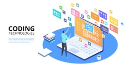 Developing programming and coding technologies concept. Isometric programmer working in a software develop company office. UX UI User Interface and User eXperience Process.
