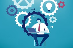 Developing project. Businessman works on new project. Business vector illustration