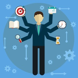 Development and internet service. Human resource and self employment - vector illustration.