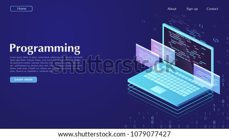 Development and software. Concept of programming, data processing. Computer code with windows on laptop screen.