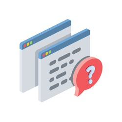 Development code question. Vector 3d isometric, color web or print icons, new flat style. Creative illustration, idea for infographics.