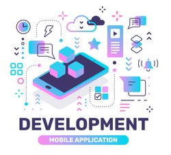 Development color concept with isometric phone on white background. Vector creative abstract illustration with title, icon. Line art flat style design for web, site, banner