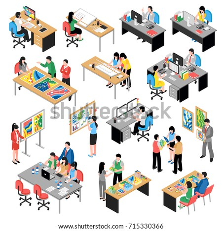 Development company office isometric icons collection with teamwork planning modernization designing at desktop computers isolated vector illustration