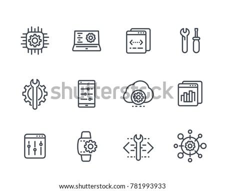 development, configuration service, engineering, settings line icons set on white
