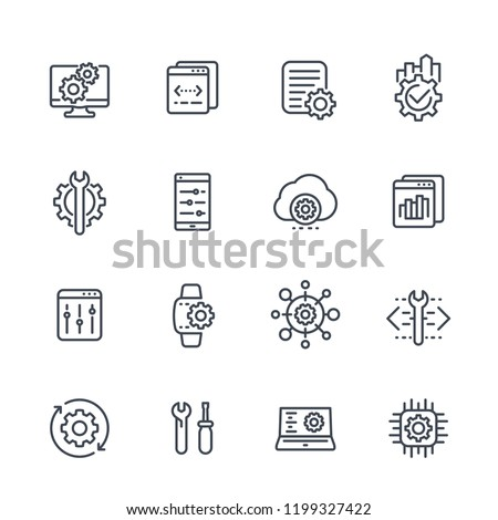 development, configuration service, hardware, settings line icons set on white