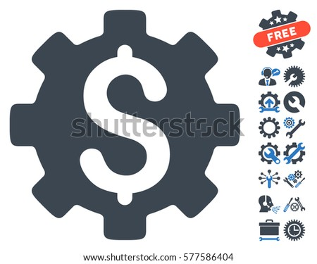 Development Cost pictograph with bonus setup tools clip art. Vector illustration style is flat iconic smooth blue symbols on white background.