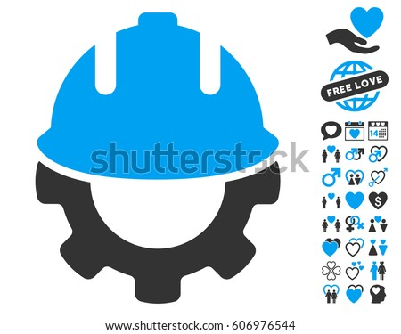 Development icon with bonus love symbols. Vector illustration style is flat iconic blue and gray symbols on white background.