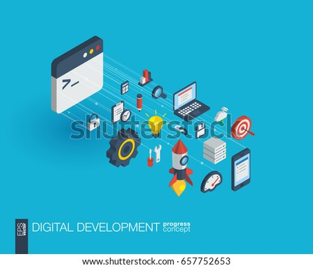 Development integrated 3d web icons. Digital network isometric progress concept. Connected graphic design line growth system. Abstract background for programming, coding, app design. Vector Infograph